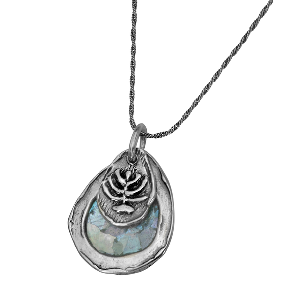 Teardrop Roman Glass Menorah Necklace