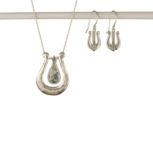 David's Harp Silver Roman Glass Necklace and Silver Drop Earrings Set