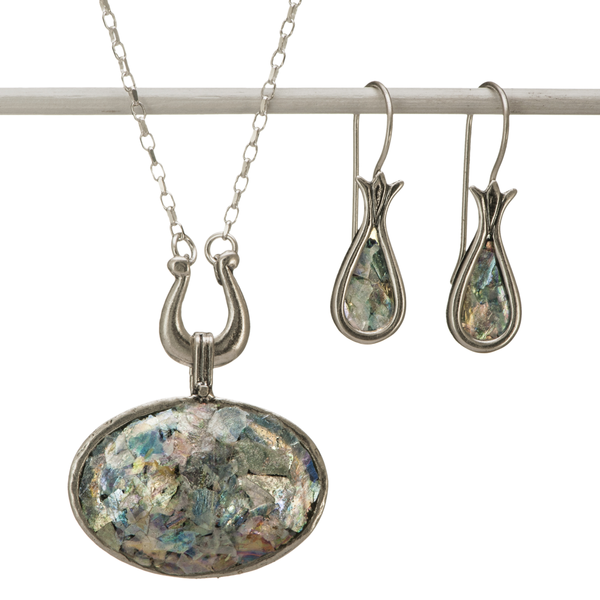 David's Harp Roman Glass Necklace and Earrings Set