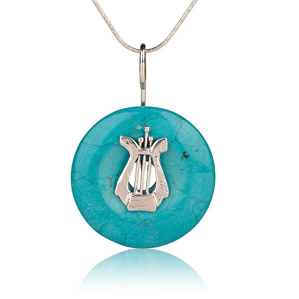David's Harp Round Turquoise Necklace