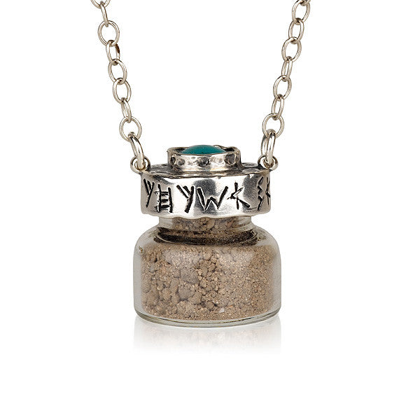 Ancient Hebrew Text Silver Necklace with Turquoise Stone