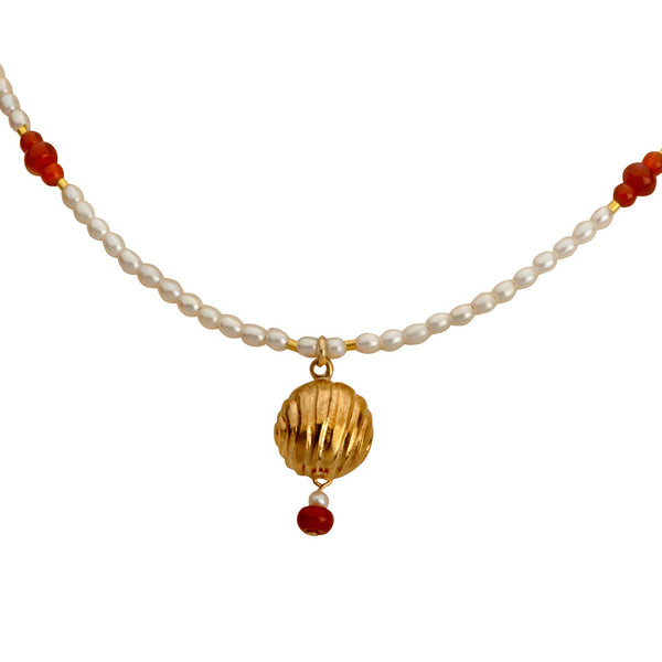 Golden Bell Pearl Necklace.