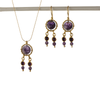 Queen Helene Purple Amethyst Earrings and Necklace Set