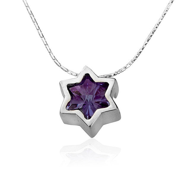 Star of David purple Crystal Necklace