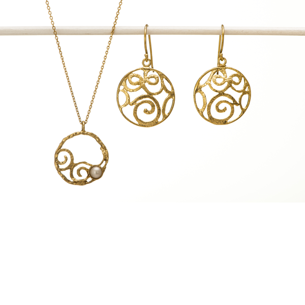 Golden Eternity Signature Earrings and Hoop Necklace Set