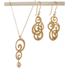 Golden Eternity Drop Necklace and Earrings Set