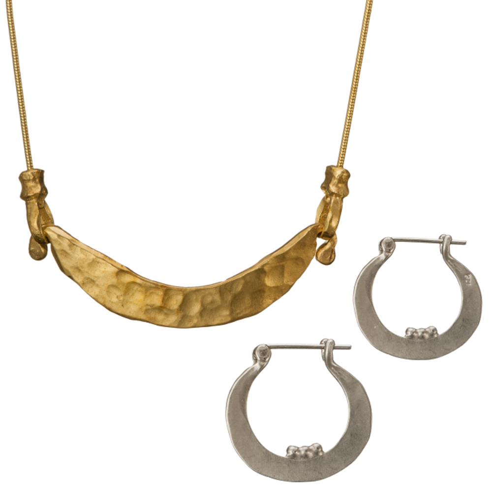Hammered Harp Necklace and Earrings Set