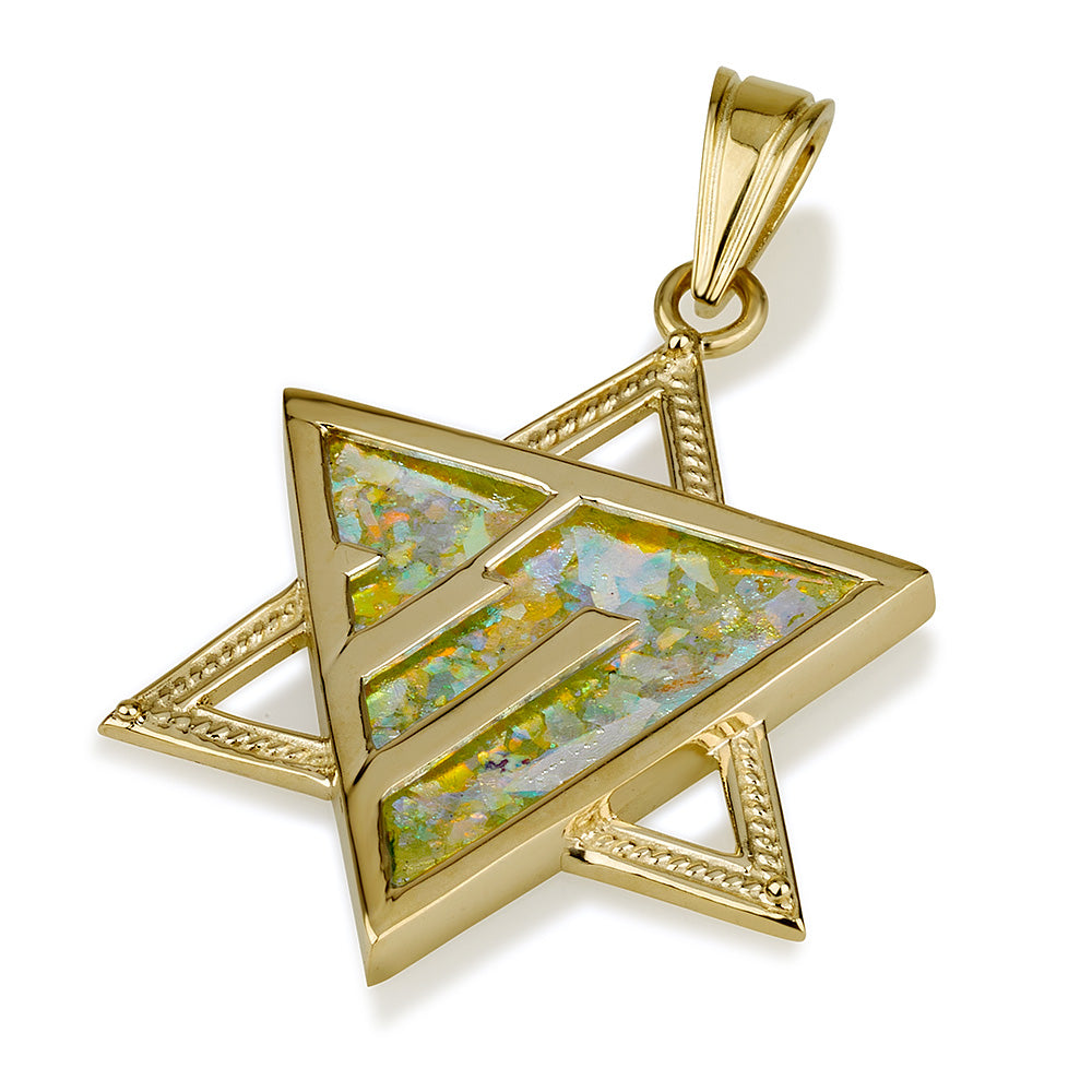 14k gold Star of David pendant with Roman Glass