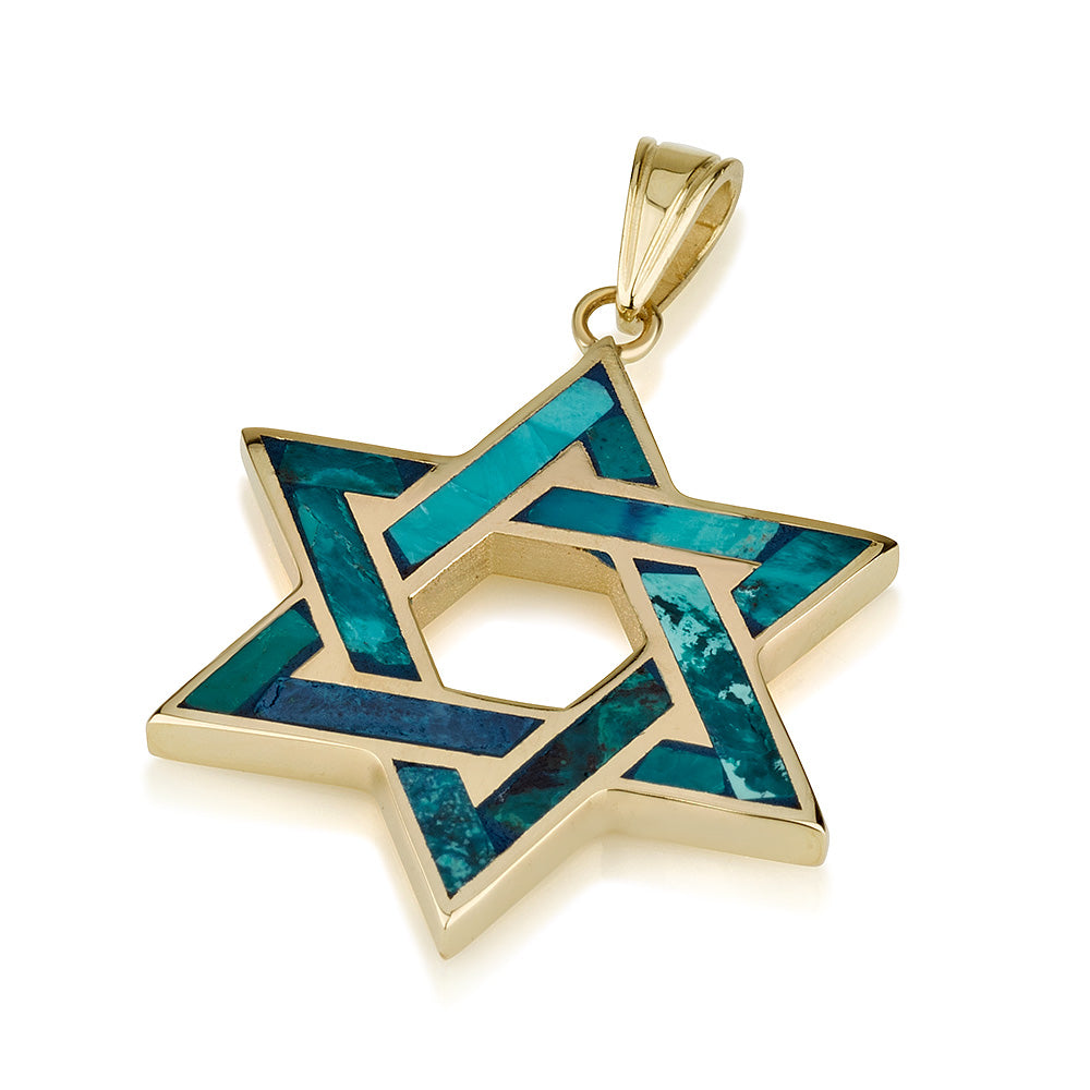 14k Gold Star of David Pendant with Eilat stone