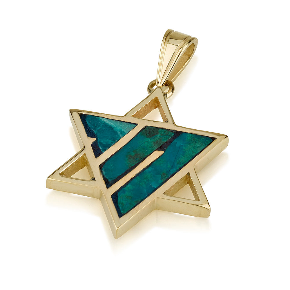 Gold Star of David Pendant with Eilat stone