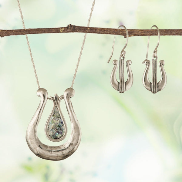 Buy a David's Harp Silver Roman Glass Necklace and Receive Matching Earrings