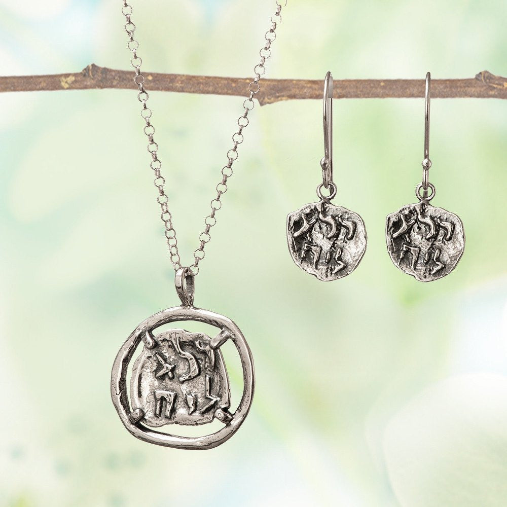 Pure for God Silver Necklace and Earrings Set