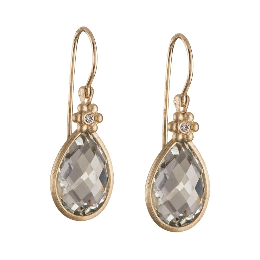 Earrings - 14K Gold Green Amethyst Medallion Earrings