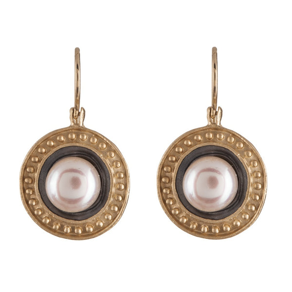 Earrings - 14K Gold Pearl Medallion Earrings