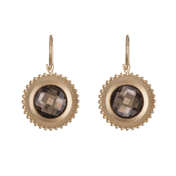 Earrings - 14K Gold Smokey Topaz Flower Medallion Earrings