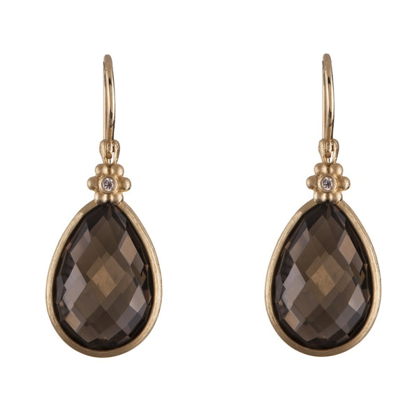 Earrings - 14K Gold Smokey Topaz Medallion Earrings