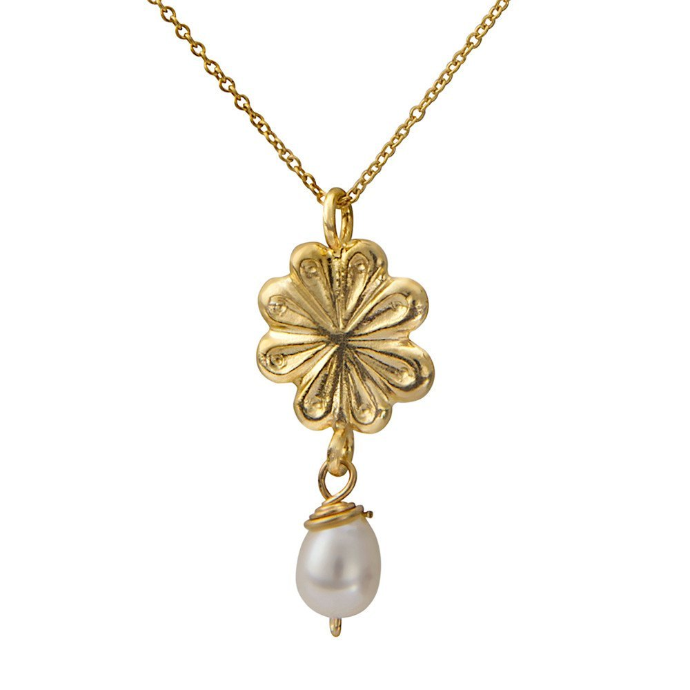 Flower And White Pearl Necklace