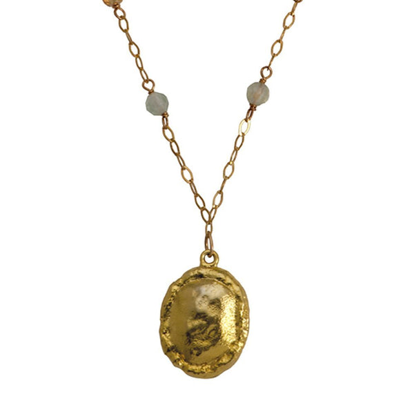 Gold Coin Necklace With Swarovski Stones