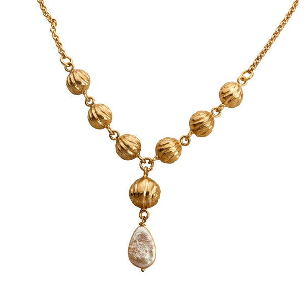 Golden Bell Necklace With A Pearl