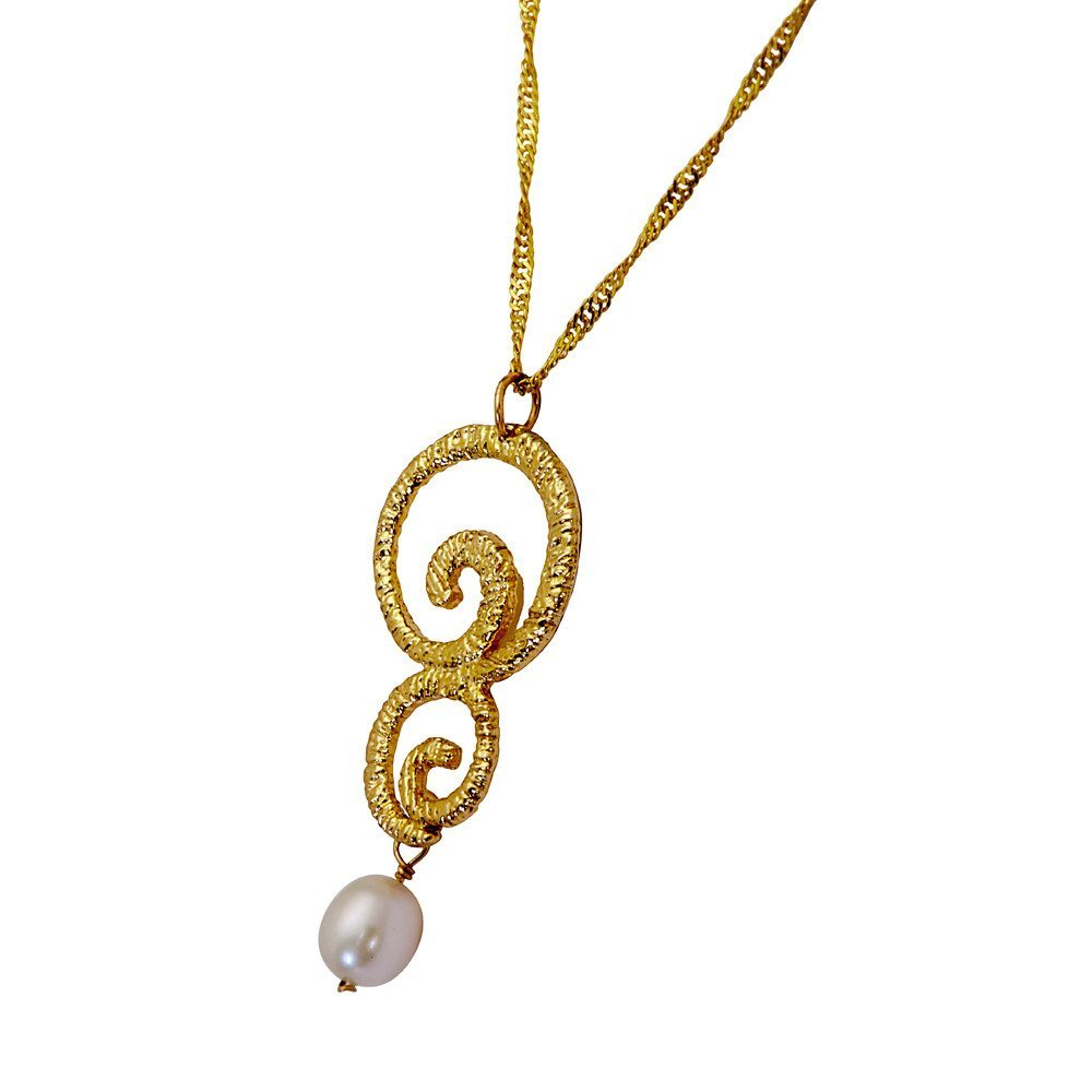 Golden Eternity Drop Gold Plated Necklace With A Pearl