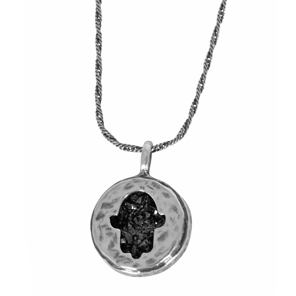 Hamsa Necklace With Embedded Druzy Stone