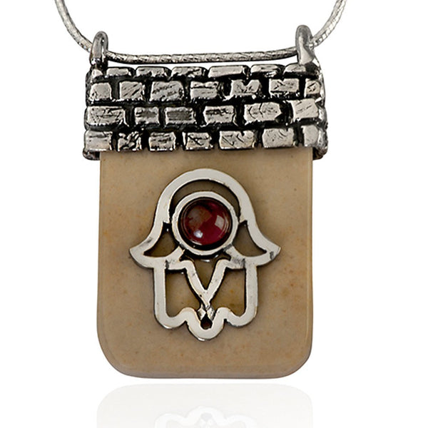 Hamsa Temple Mount Necklace With Garnet
