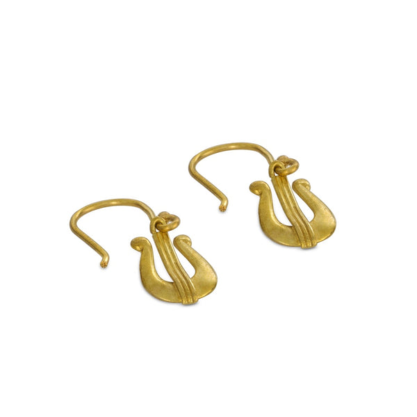 David's Harp Brass Earrings