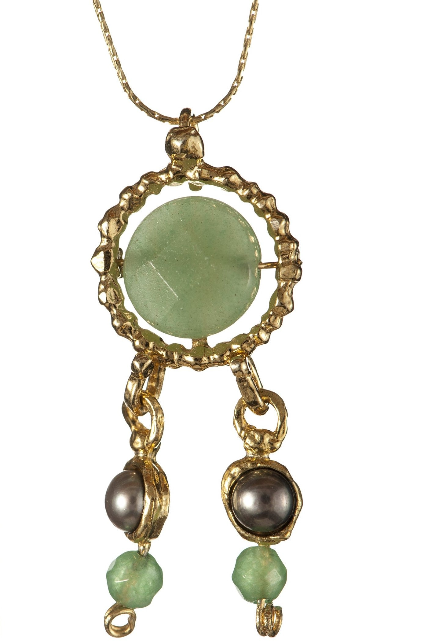 Queen Helene Aqua green stone necklace