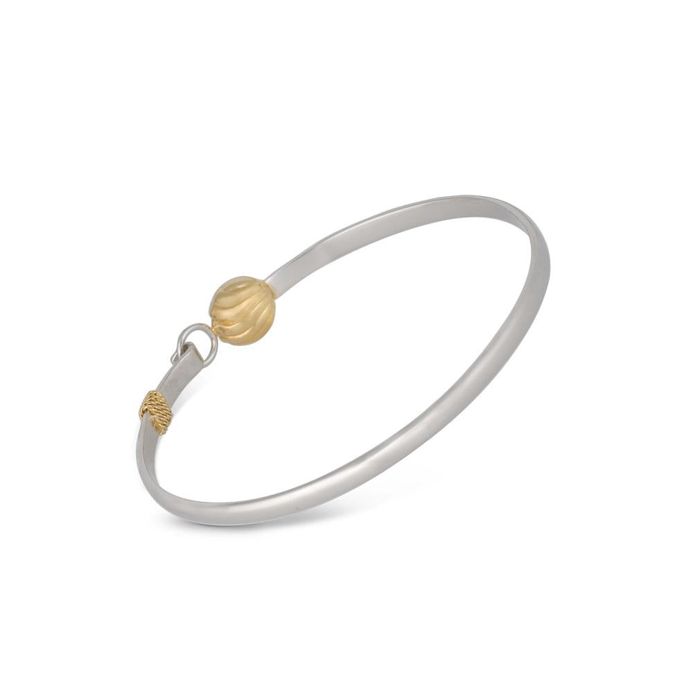 Golden Bell Bracelet with Closure in Silver with Gold Plated Bell and Pearl
