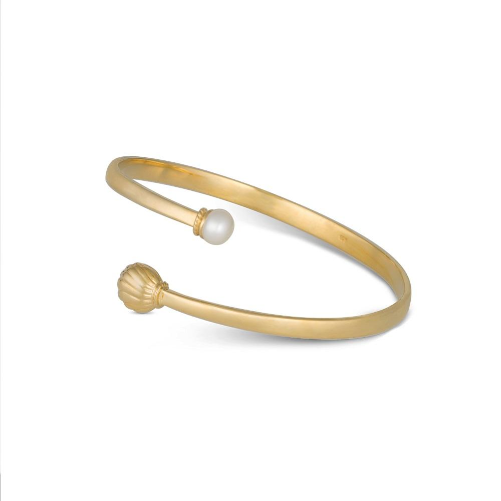 Golden Bell Bracelet in Gold Plated Silver with Pearl