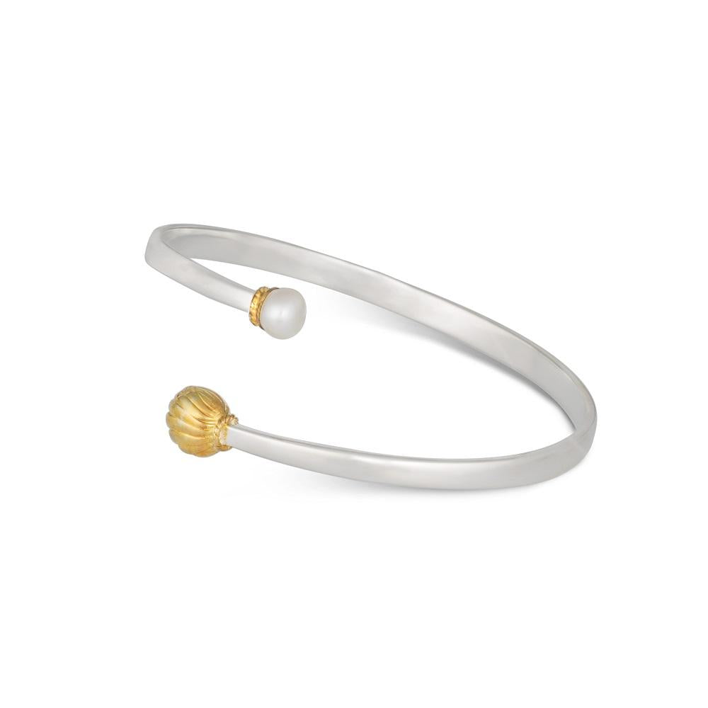 Golden Bell Bracelet in Silver with Gold Plated Bell and Pearl
