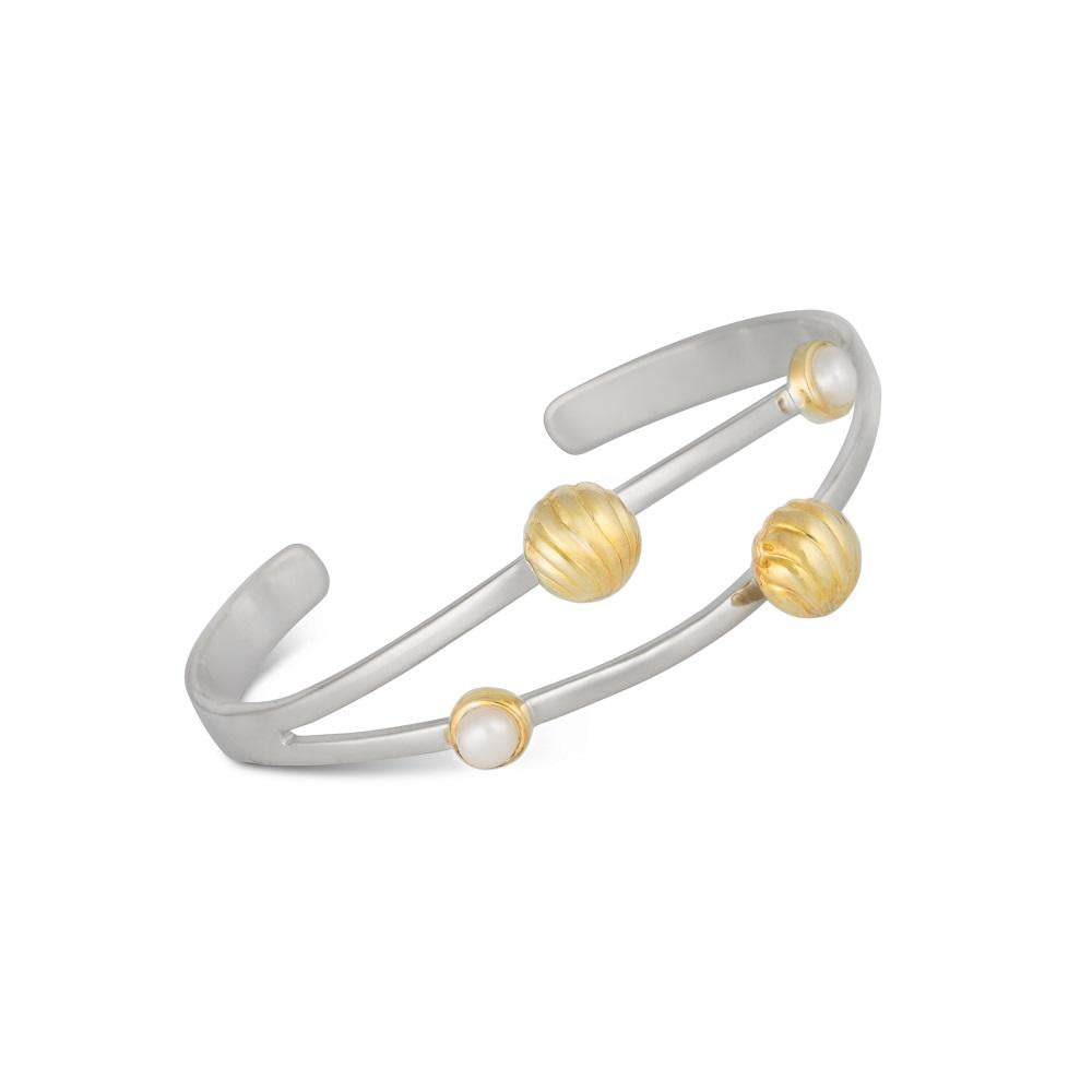Silver Bracelet with Golden Bells and White Pearls