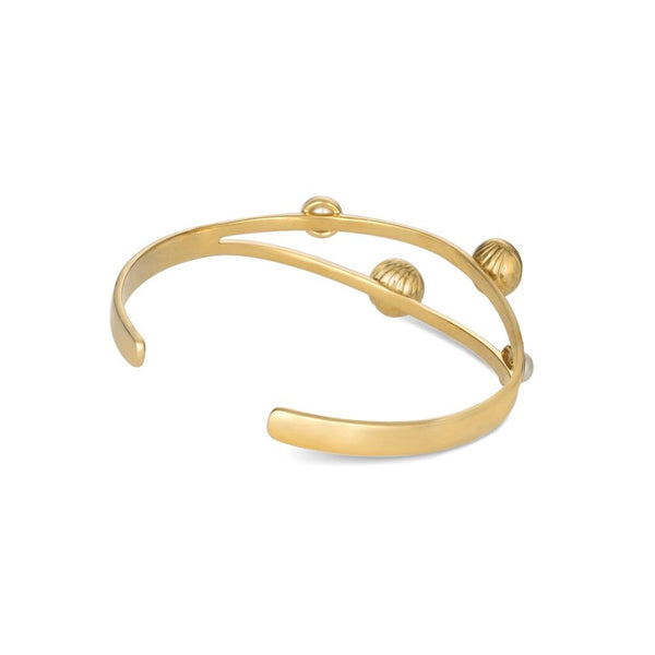 Gold Plated Silver Bracelet with Golden Bells and White Pearls