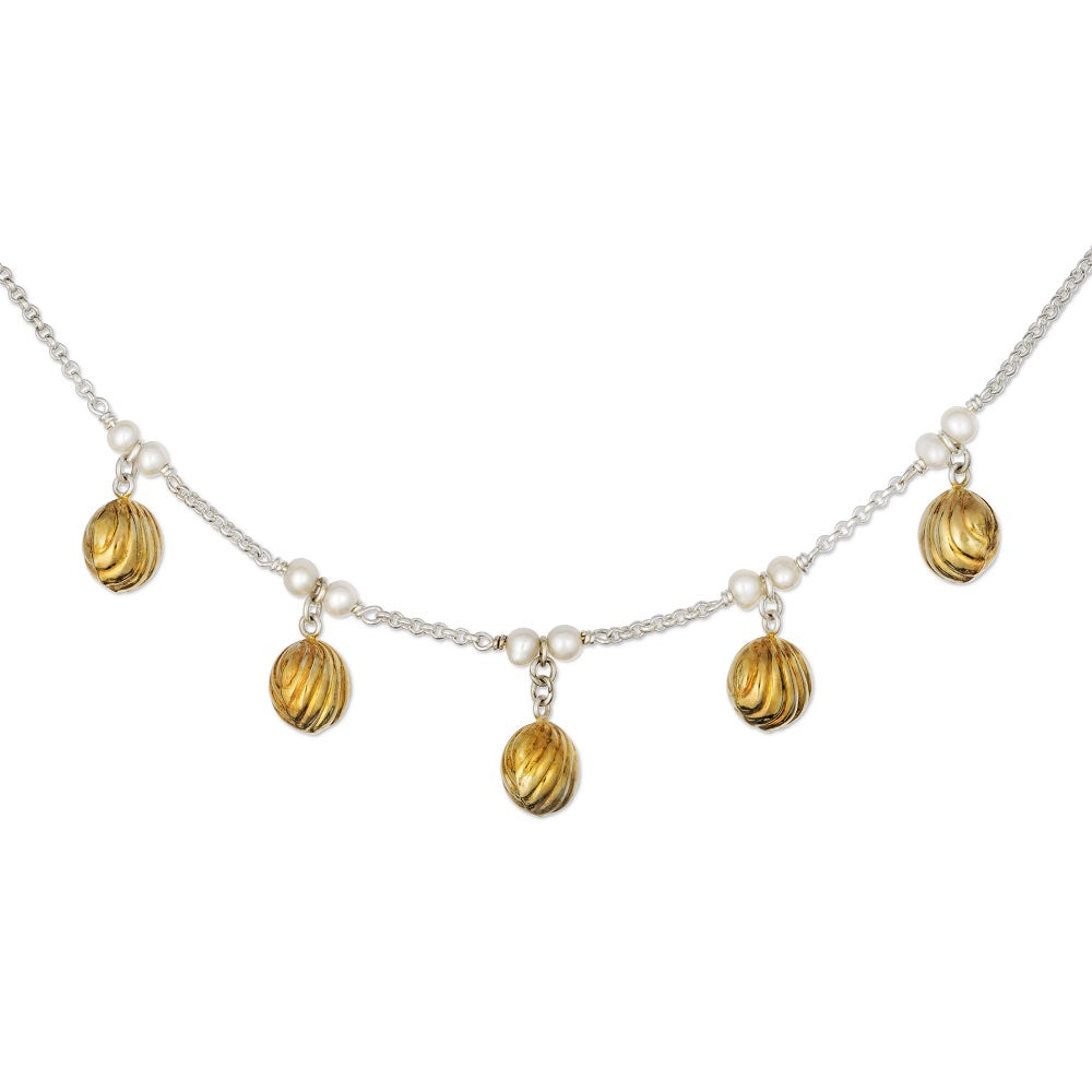 Five Golden Bells Necklace with White Pearls