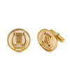 Harp of David Cufflinks in Silver with Gold Plating and Jerusalem Stone