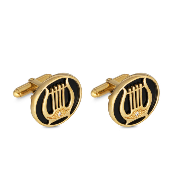Gold Plated Silver and Onyx Harp of David Cufflinks