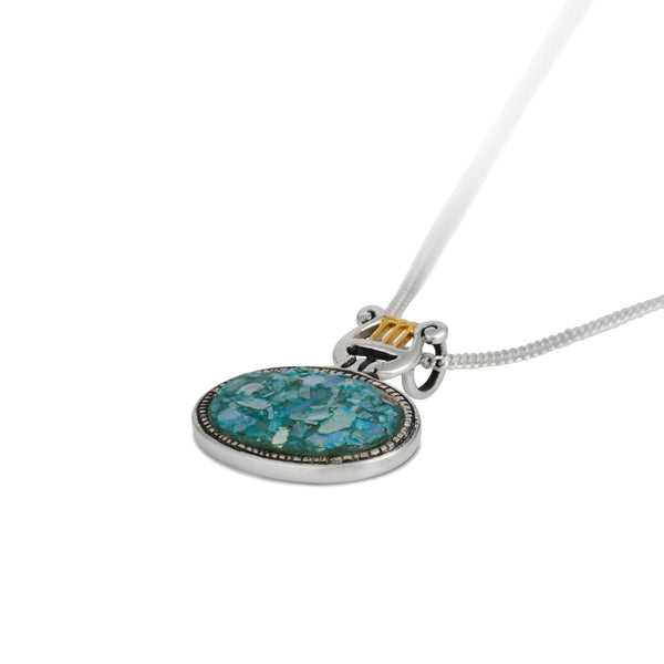 Harp of David Horizontal Pendant Necklace with Roman Glass