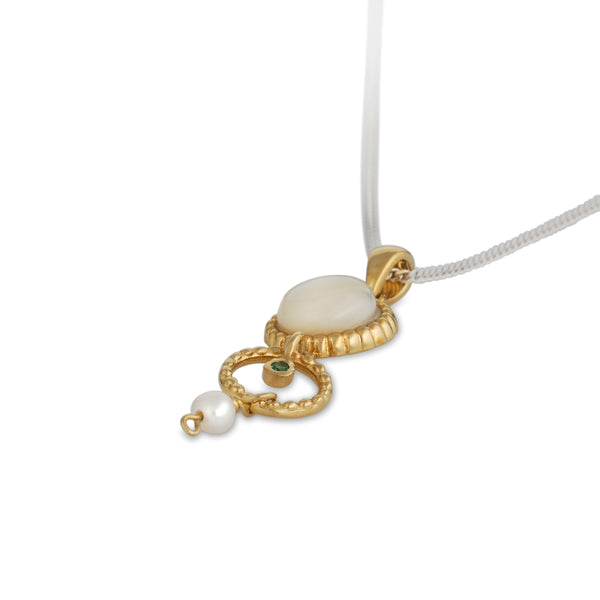 Queen Helene Gold Plated Silver Necklace with Pearls