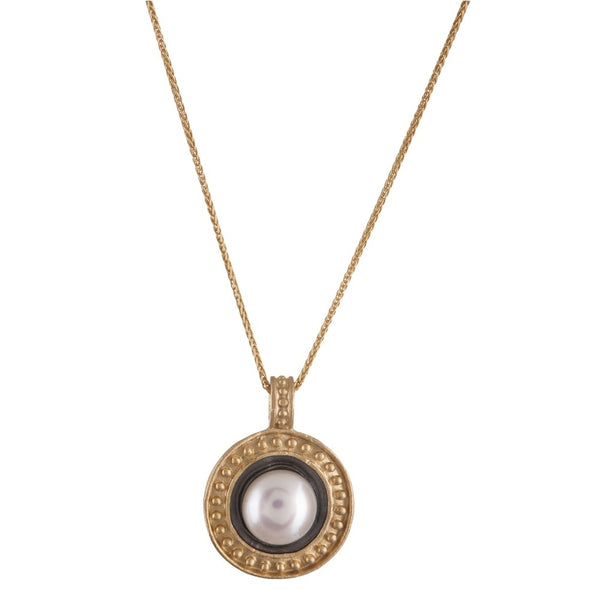 Necklace - 14K Gold Pearl Flower Medallion Necklace