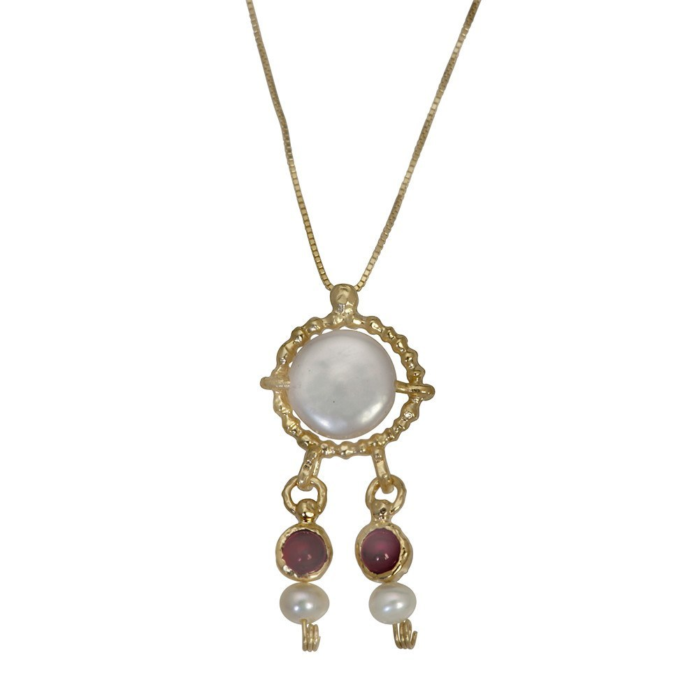 Queen Helene Pearl & Carnelian Necklace
