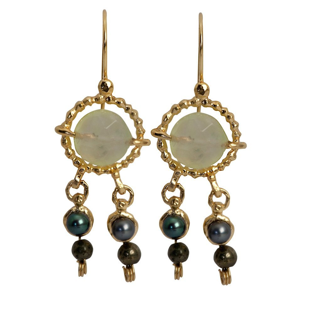 Queen Helene Pearl & Pyrite Earrings