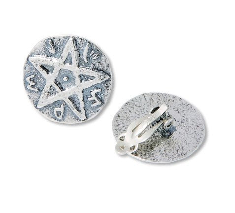 Star Of Solomon Clip On Earrings.