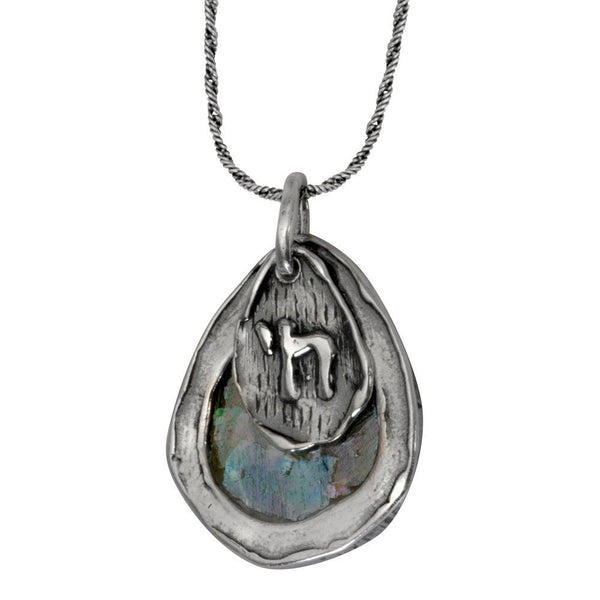 Teardrop Roman Glass & Chai Necklace