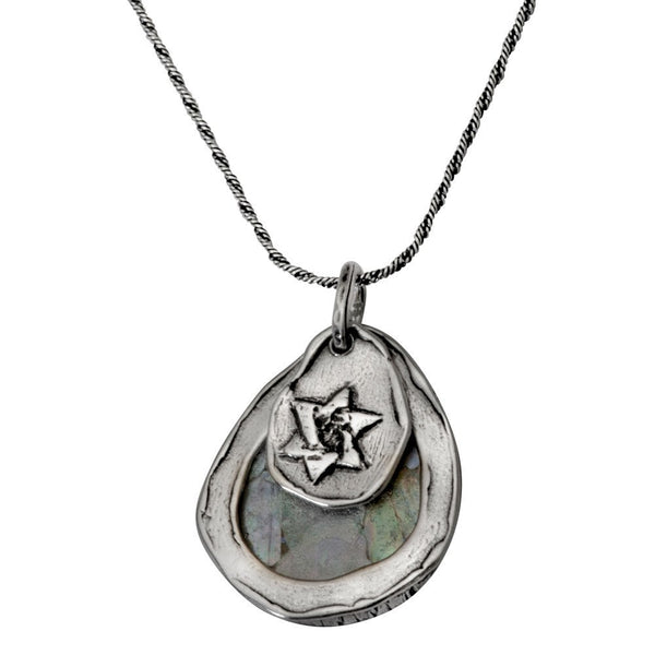 Teardrop Roman Glass & Star Of David Necklace