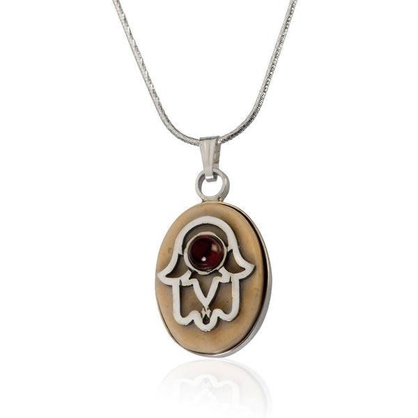 Temple Mount Stone Necklace Hamsa And Garnet