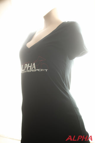 Alpha Powersport Ladies V-neck Tee - Alpha Powersport Store