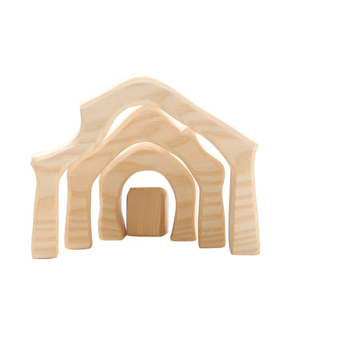 Mini Nativity Stable, small, 4 pieces