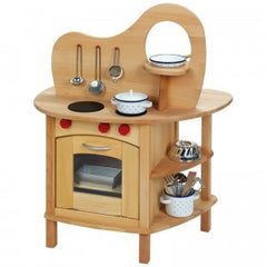 2 way play wooden kitchen with stove and workbench