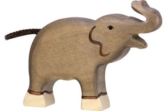 Wooden Elephant Small Trunk Raised Holztiger