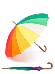 Adult Rainbow Umbrella with Wooden Handle